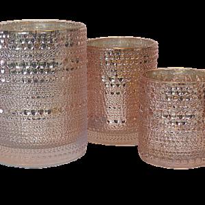 theelichthouder glas parel roze