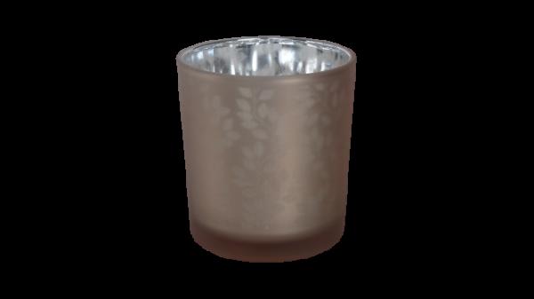 theelichthouder blaadje roze/zilver